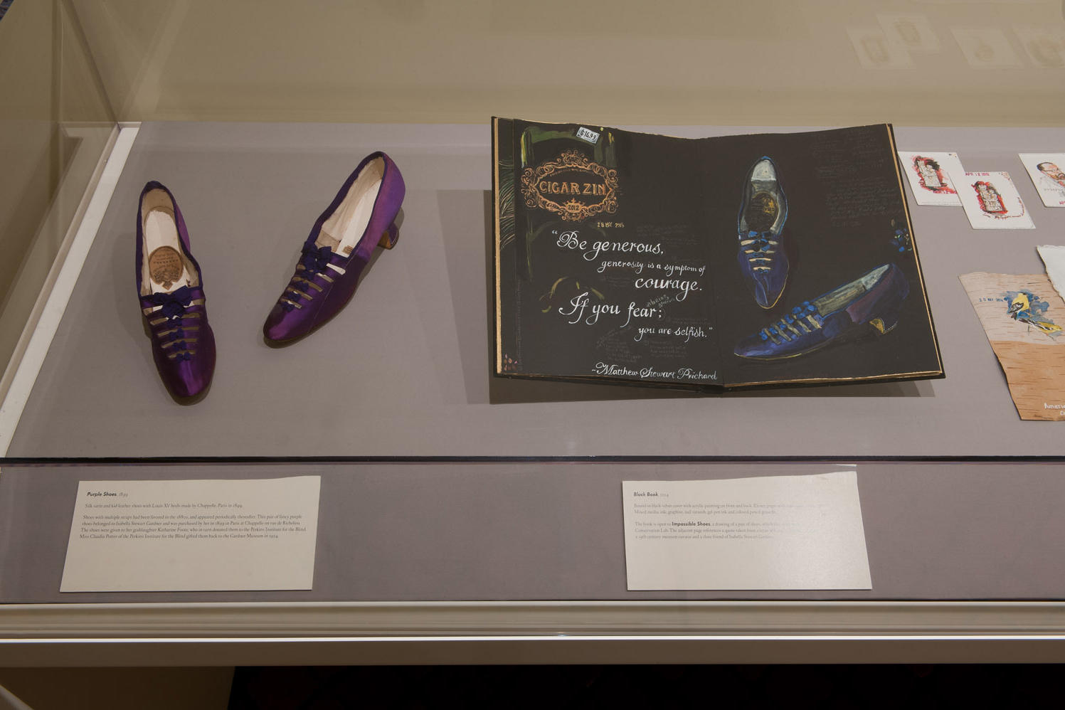 Purple Shoes, 1899, Made by Chappelle in Paris and owned by Isabella Stewart Gardner. Charmaine Wheatley, Black Book, 2014 open to Impossible Shoes, a painting of Gardner's shoes, which the artist made in the Textile Conservation Lab. Photo: George Bouret