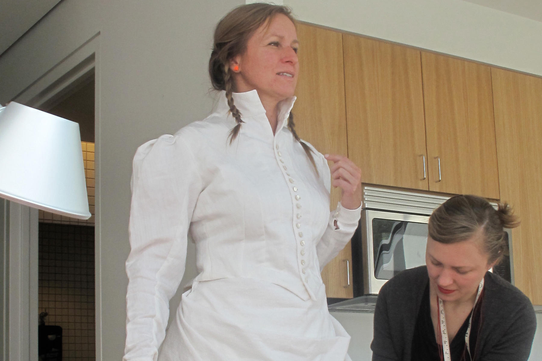 A dress fitting: Charmaine Wheatley prepares for an upcoming performance at the Mills Gallery, Boston, 2012.