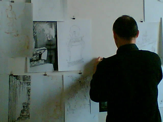 Arienti with drawings for the Libro Azzurro, 2012