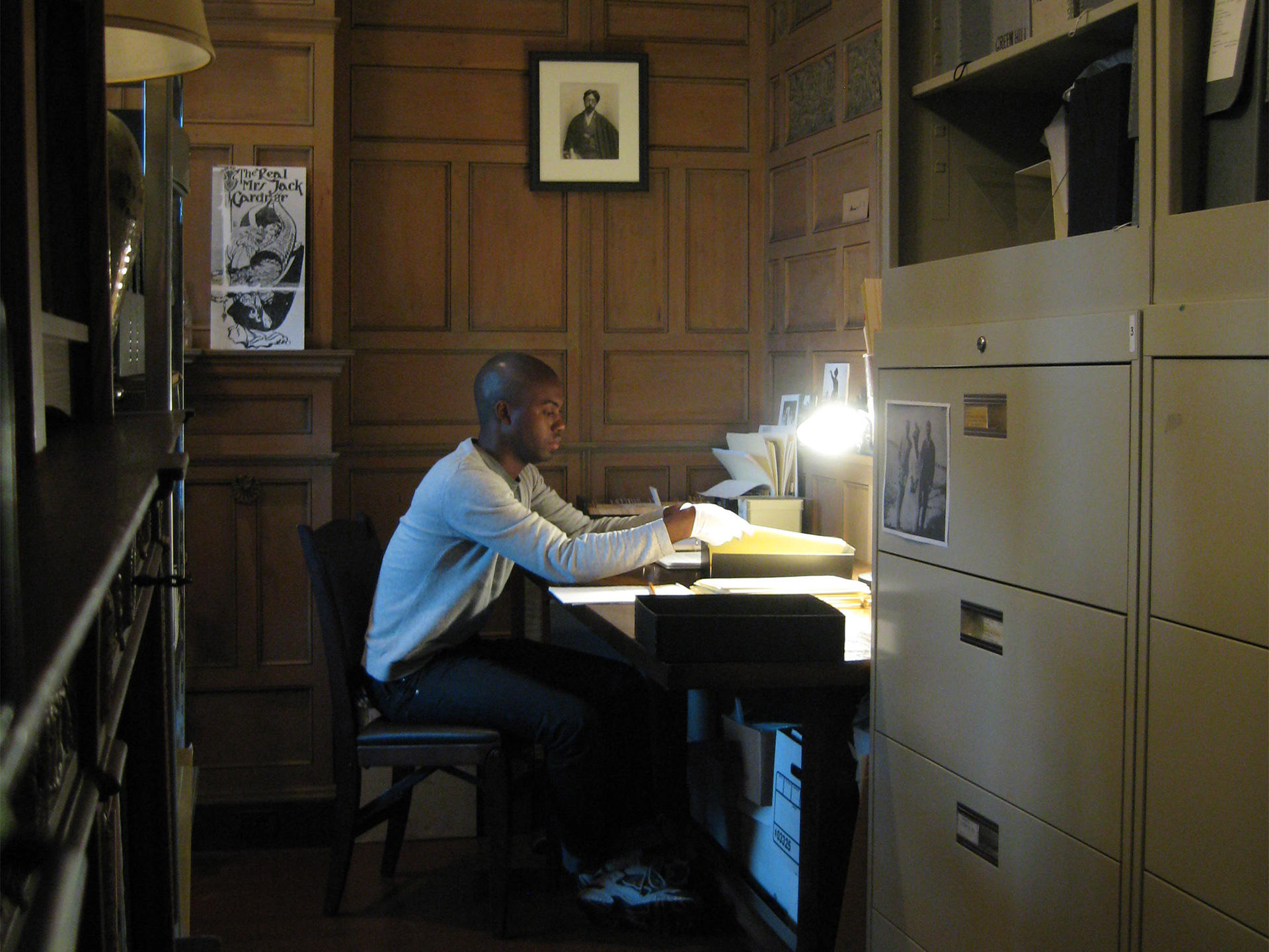 Adam Pendleton working in the archives, 2008