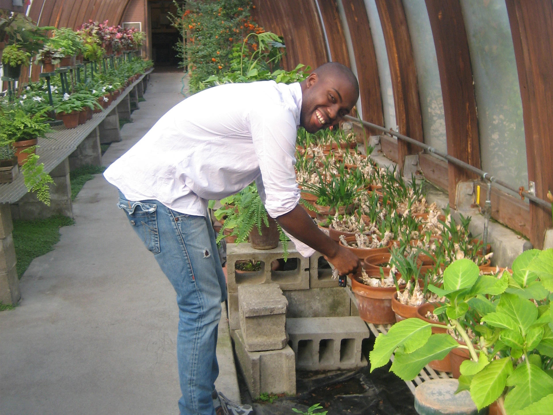 Adam Pendleton in the greenhouse, 2008