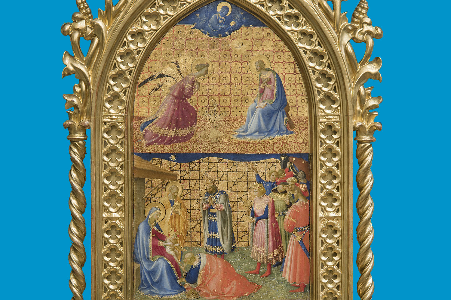 Fra Angelico (Italian, about 1400 - 1455), The Annunciation and Adoration of the Magi, 1424-1434. Tempera with oil glazes and gold on panel, 87 x 50.7 cm (34 1/4 x 19 15/16 in.) Museo di San Marco, Florence – Polo Museale della Toscana