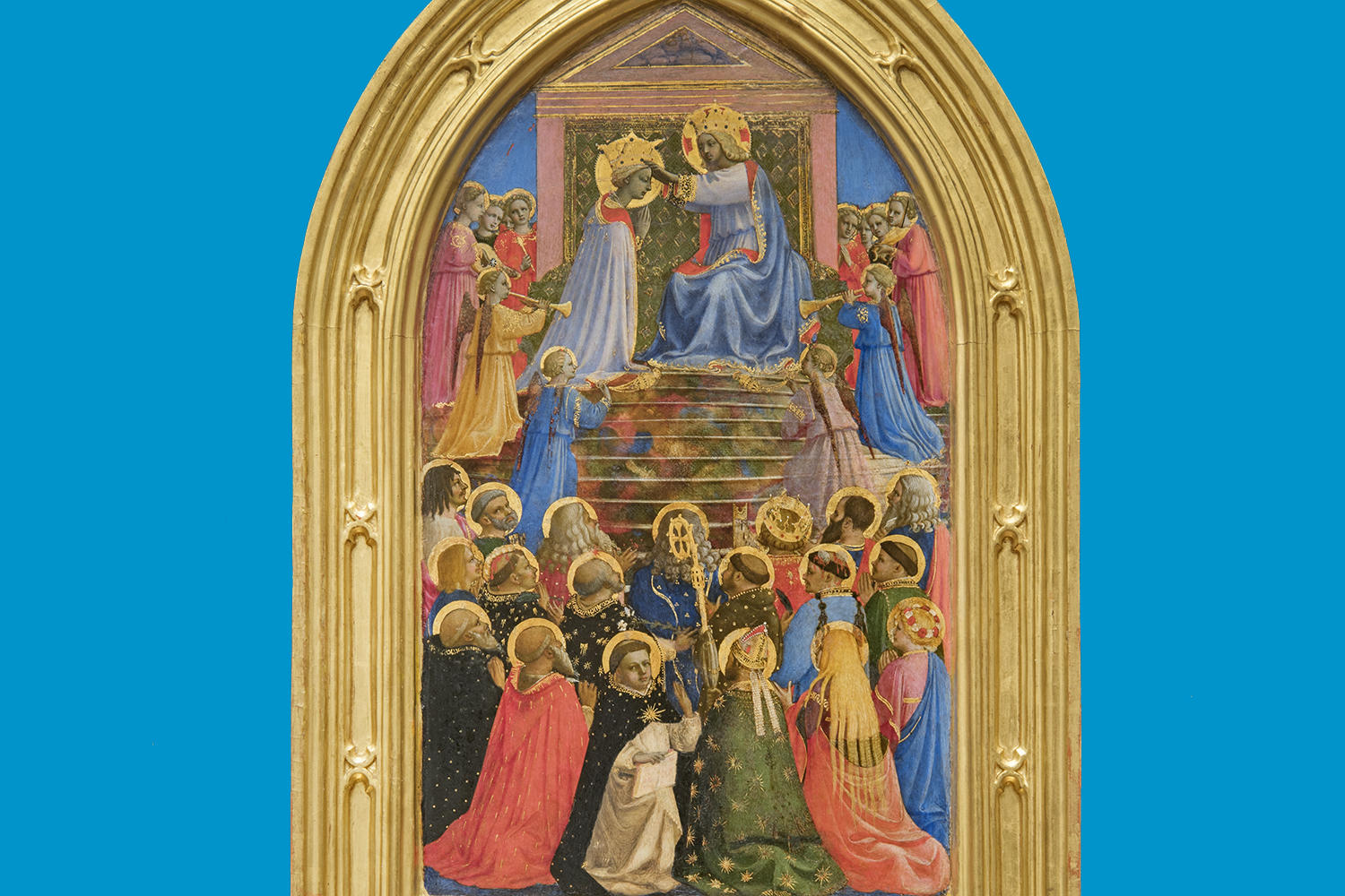Fra Angelico (Italian, about 1400 - 1455), The Coronation of the Virgin, 1424-1434. Tempera with oil glazes and gold on panel, 77 x 43 cm (30 5/16 x 16 15/16 in.) Museo di San Marco, Florence – Polo Museale della Toscana