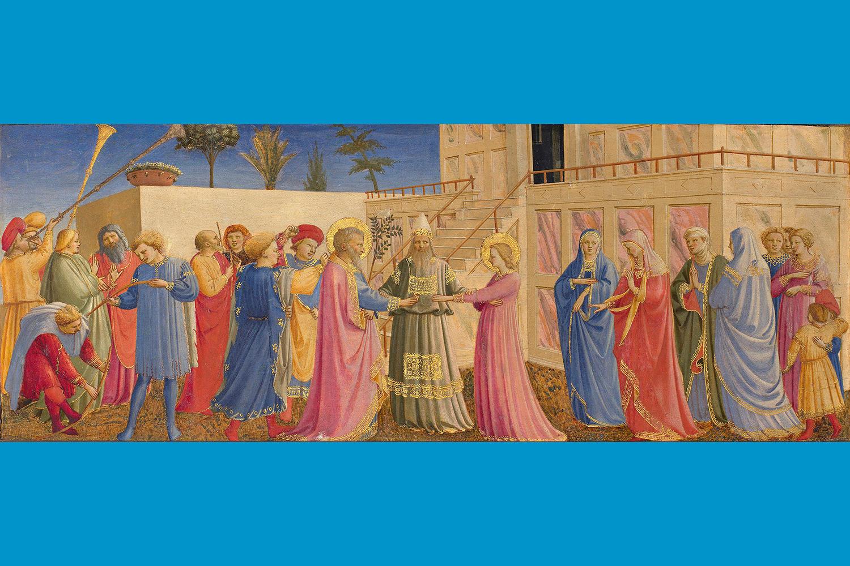 Fra Angelico (Italian, about 1400 - 1455), The Marriage of the Virgin, 1431-1435. On panel, 19 x 50 cm (7 1/2 x 19 11/16 in.) Museo di San Marco, Florence – Polo Museale della Toscana. Photo: Scala/Ministero per i Beni e le Attività culturali / Art Resource, NY