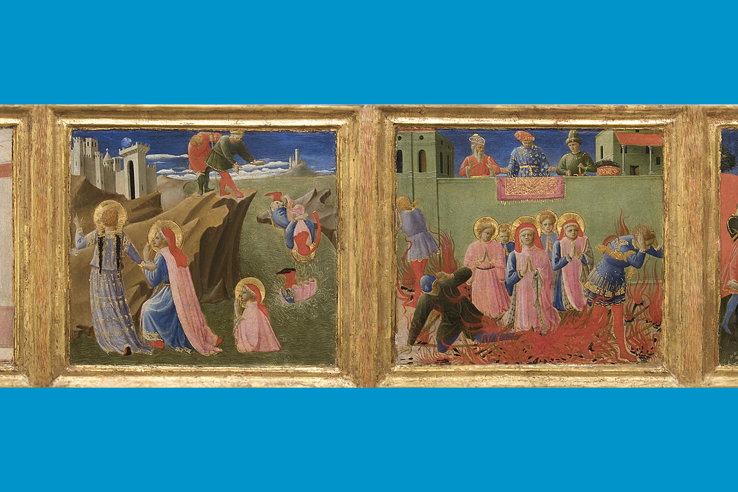Fra Angelico (Italian, about 1400 - 1455), Predella from the Annalena altarpiece: Six Scenes from Life of Cosmas and Damian, about 1437-1440. Tempera on panel,20 x 117.5 cm (7 7/8 x 46 1/4 in.) Museo di San Marco, Florence – Polo Museale della Toscana