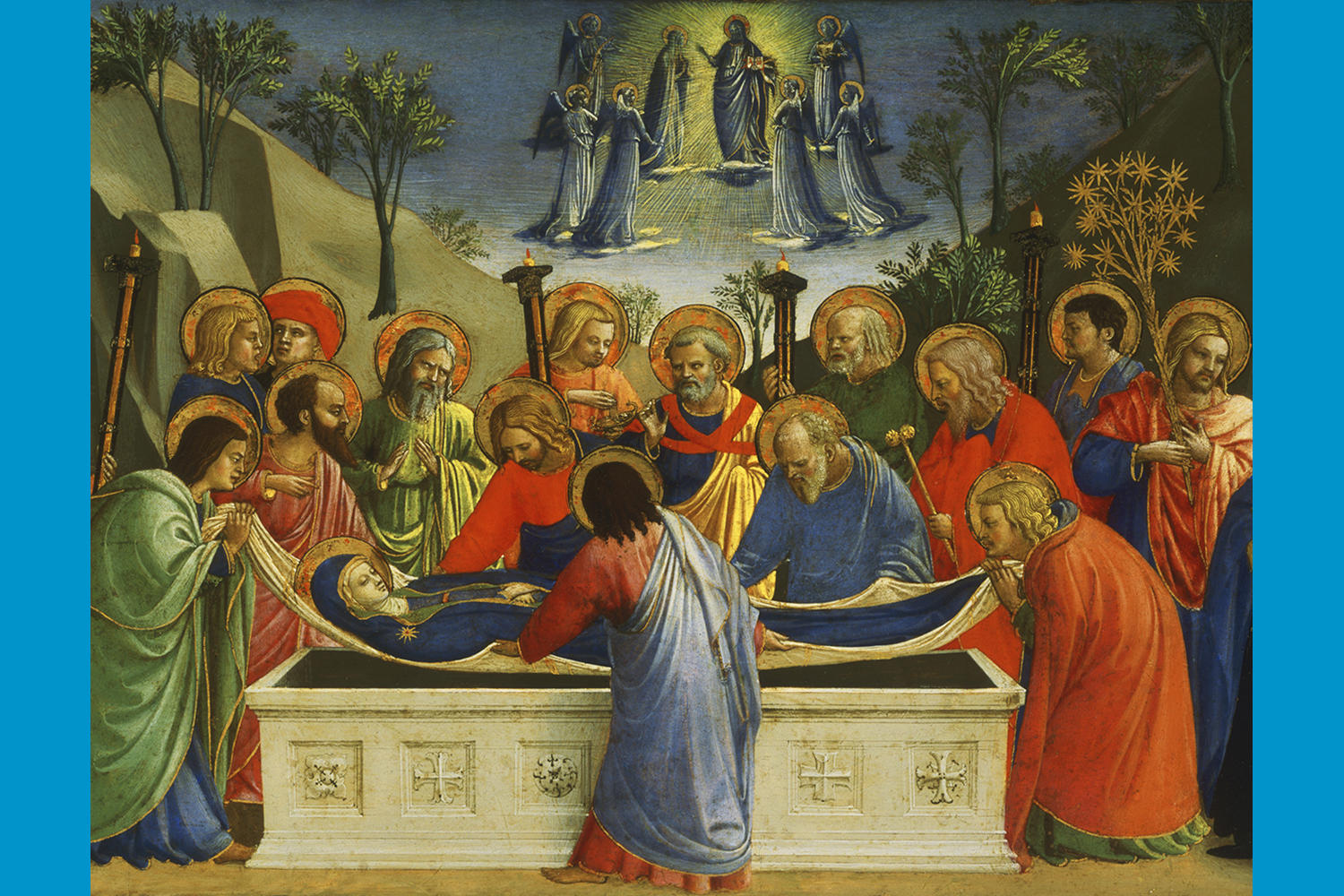 Fra Angelico (Italian, about 1400 - 1455), The Dormition of the Virgin, about 1425. Tempera, silver and tooled gold on panel, 26.2 x 52.2 cm (10 5/16 x 20 9/16 in.) Philadelphia Museum of Art. Photo: Philadelphia Museum of Art / Art Resource, NY