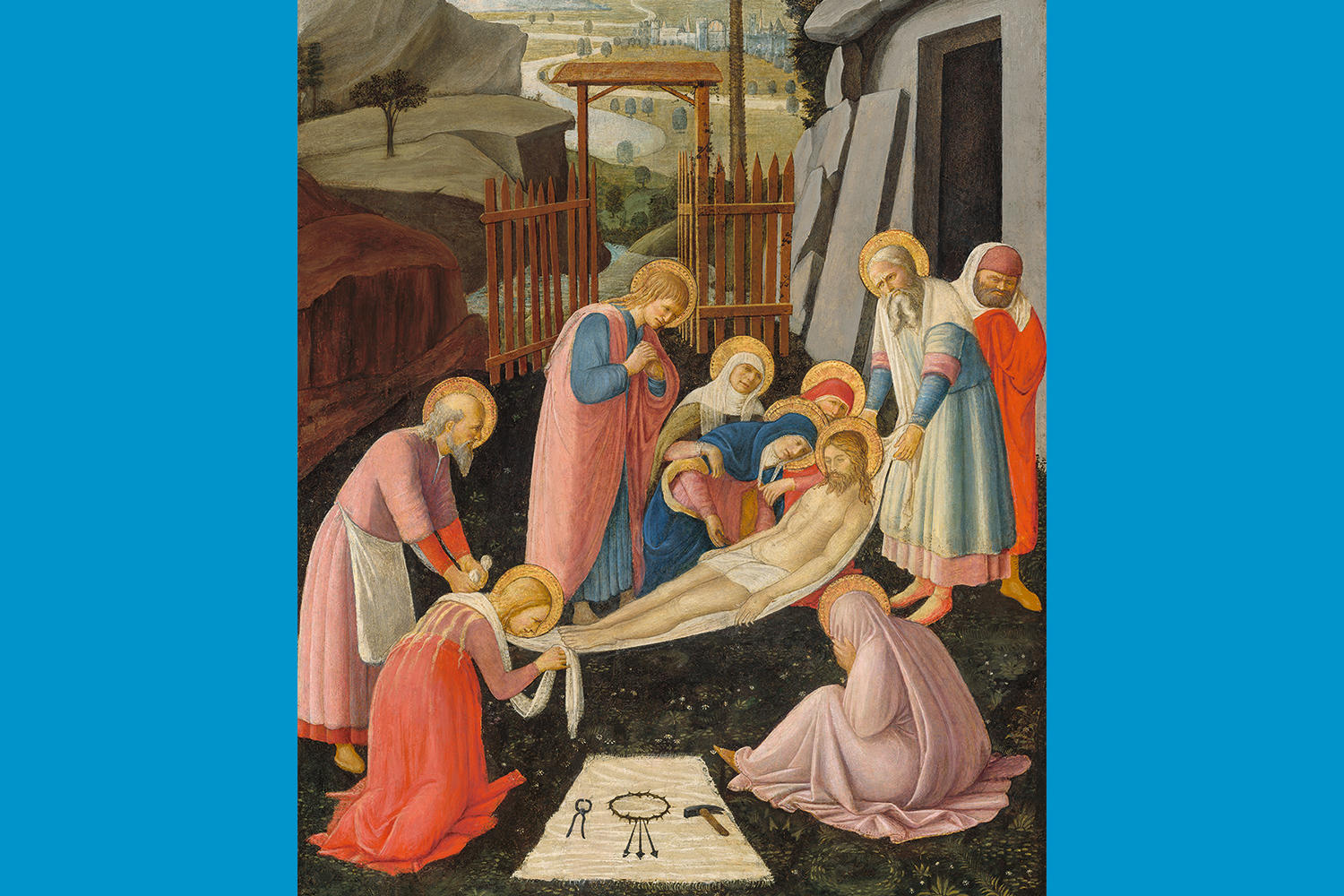 Fra Angelico (Italian, about 1400 - 1455), The Entombment of Christ, about 1450. Tempera and gold on poplar panel, 88.9 x 54.9 cm (35 x 21 5/8 in.) National Gallery of Art, Washington (1939.1.260).