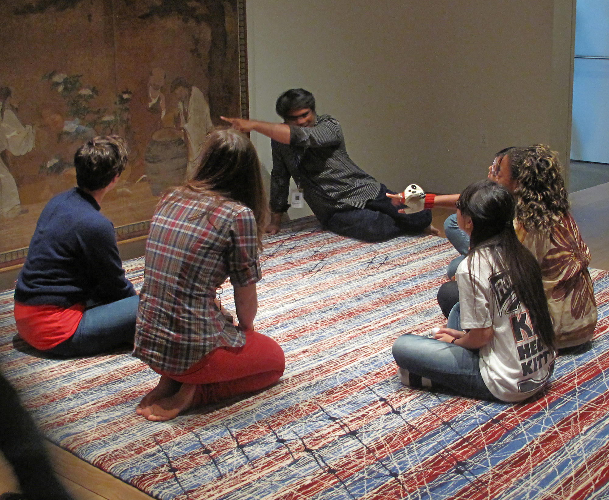 Shuddhabrata Sengupta of the Raqs Media Collective talks with the Gardner's Teens Behind the Scenes, 2012.