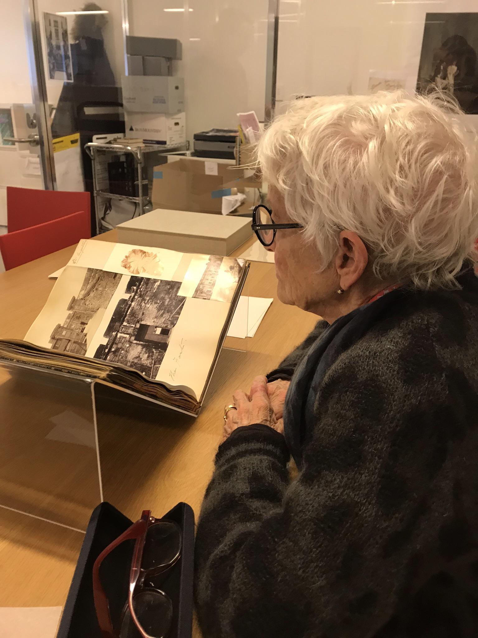 Joan Jonas looking at Isabella Stewart Gardner's travels to Asia, 2017.