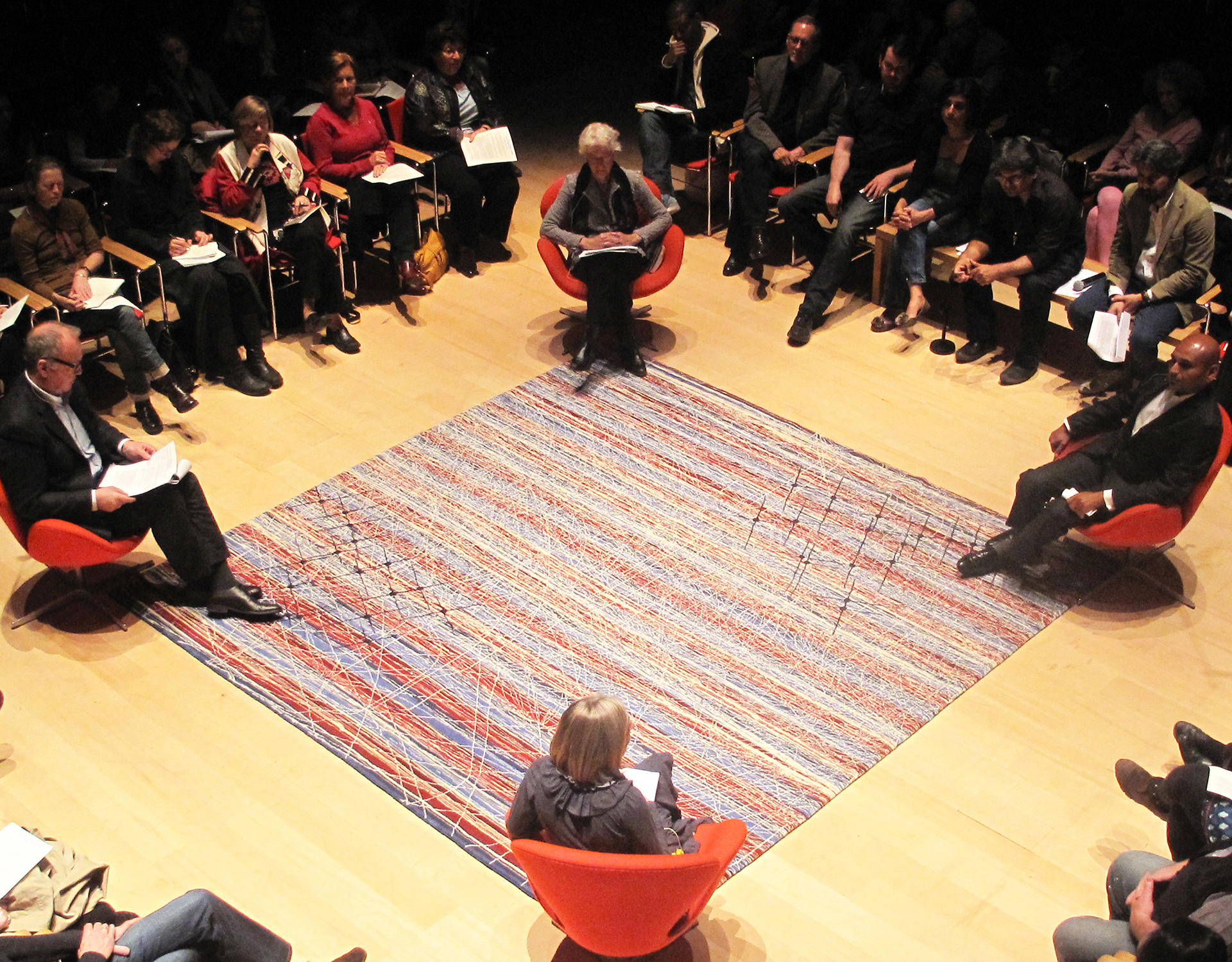 The Great Bare Mat Exchange, What Does Intelligence Do for Us? with Arani Bose, Chris Bratton, Joan Jonas, and Valentine Talland, October 25, 2013.