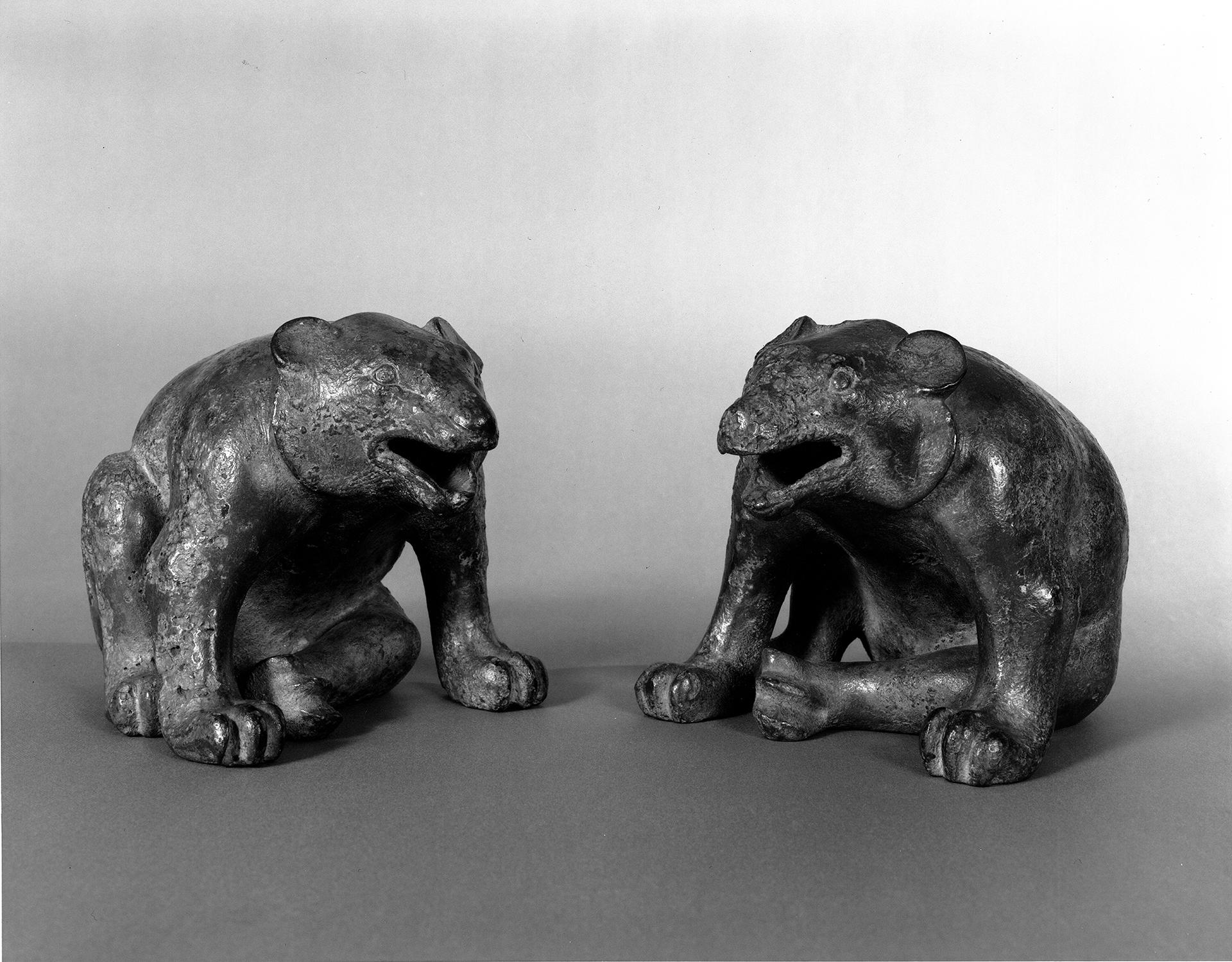 Chinese, Western Han dynasty, Mat Weights: Bears, about 206 BC - AD 9. Bronze with traces of gilding, height: 15.5 cm (6 1/8 in.) Isabella Stewart Gardner Museum, Boston (S15w15.1-2).