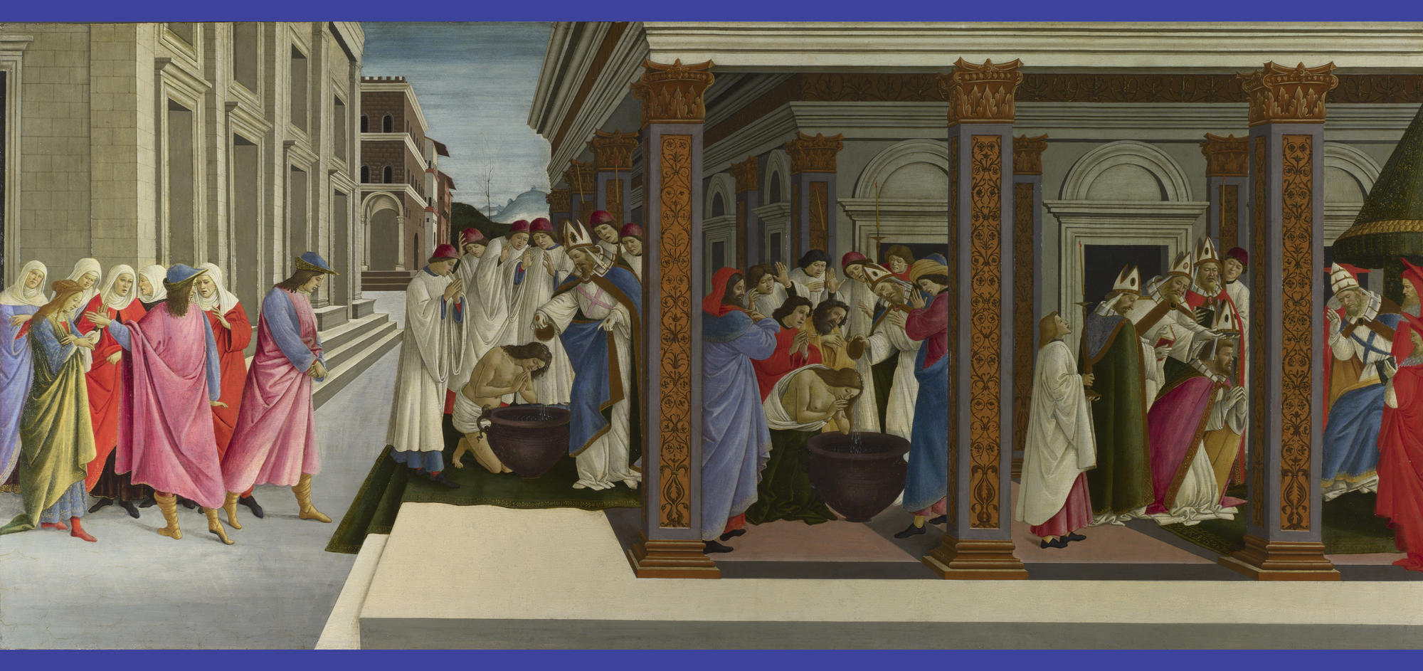 Sandro Botticelli (Italian, 1444 or 1445-1510),  Four Scenes from the Early Life of Zenobius, about 1500. Tempera on panel, 66.7 x 149.2 cm (26 1/4 x 58 3/4 in.) National Gallery, London. Ω National Gallery, London / Art Resource, NY