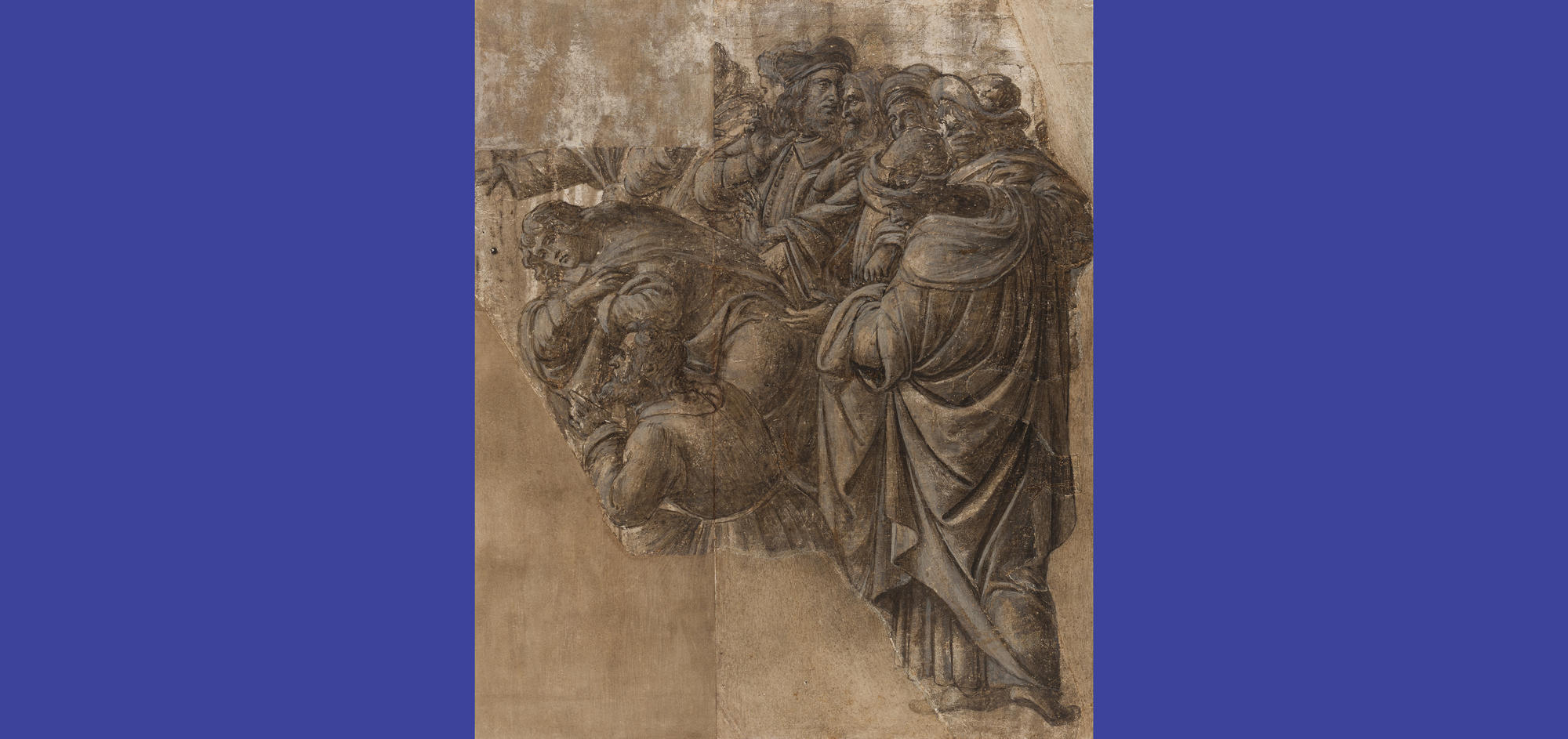 Sandro Botticelli (Italian, 1444 or 1445-1510), Men Conversing and Two Magi (two fragments of The Adoration of the Magi), about 1500. Brush and brown egg tempera, heightened with white, over charcoal or chalk on prepared linen, 44.2 x 37.1 cm. The Fitzwilliam Museum, Cambridge Ω The Fitzwilliam Museum, Cambridge
