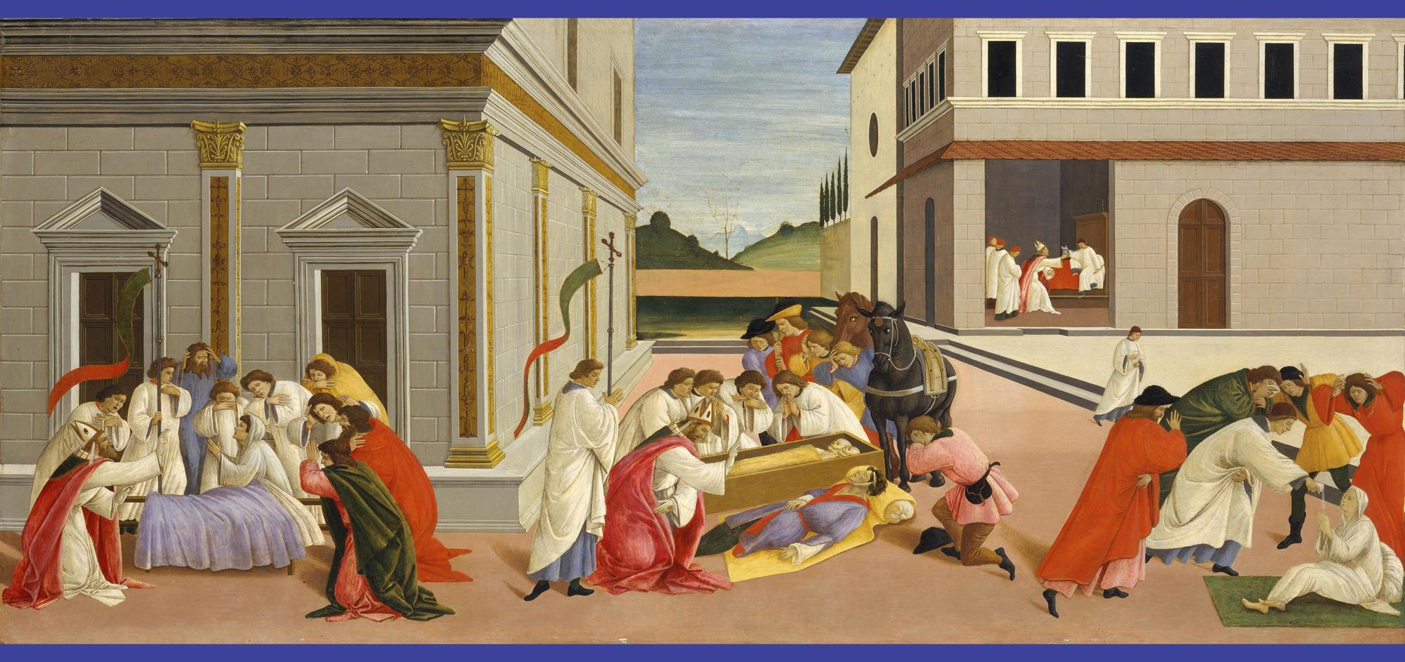 Sandro Botticelli (Italian, 1444 or 1445-1510), Three Miracles of Zenobius, about 1500. Tempera on panel, 67.3 x 150.5 cm (26 1/2 x 59 1/4 in.). Metropolitan Museum of Art, New York