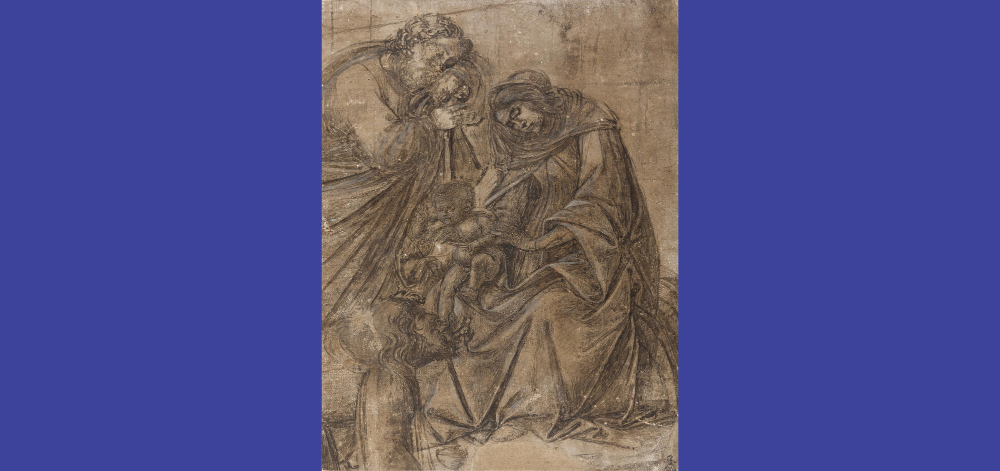 Sandro Botticelli (Italian, 1444 or 1445-1510), Virgin and Child with Saint Joseph and a Magus (fragment of The Adoration of the Magi), about 1500. Brush and brown egg tempera, heightened with white, over charcoal or chalk on prepared linen, 30.9 x 23.4 cm. The Fitzwilliam Museum, Cambridge. Ω The Fitzwilliam Museum, Cambridge