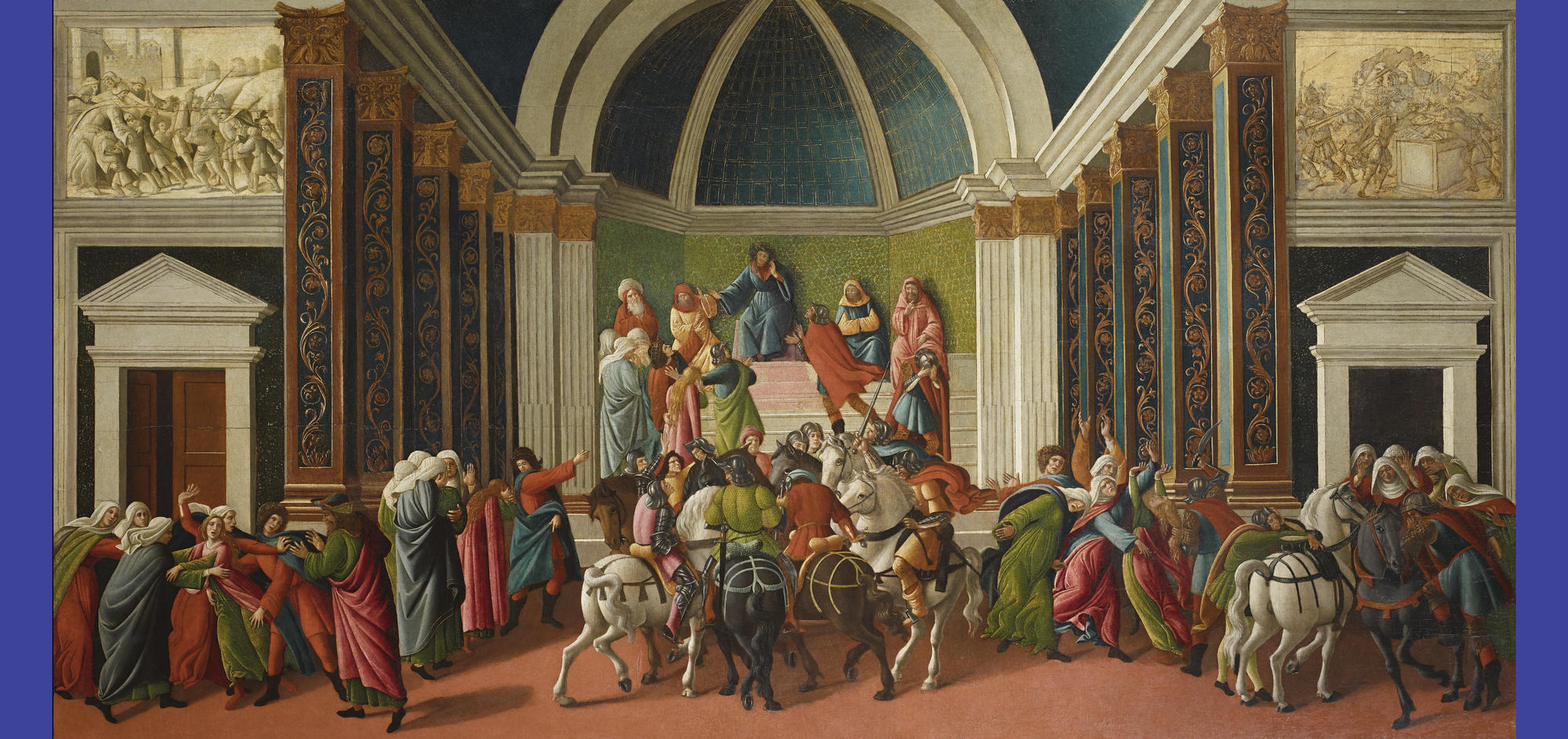 Sandro Botticelli (Italian, 1444 or 1445-1510), The Story of Virginia, about 1500. Tempera and gold on panel, 83.3 x 164.9 cm (32 13/16 x 64 15/16 in.) Accademia Carrara, Bergamo