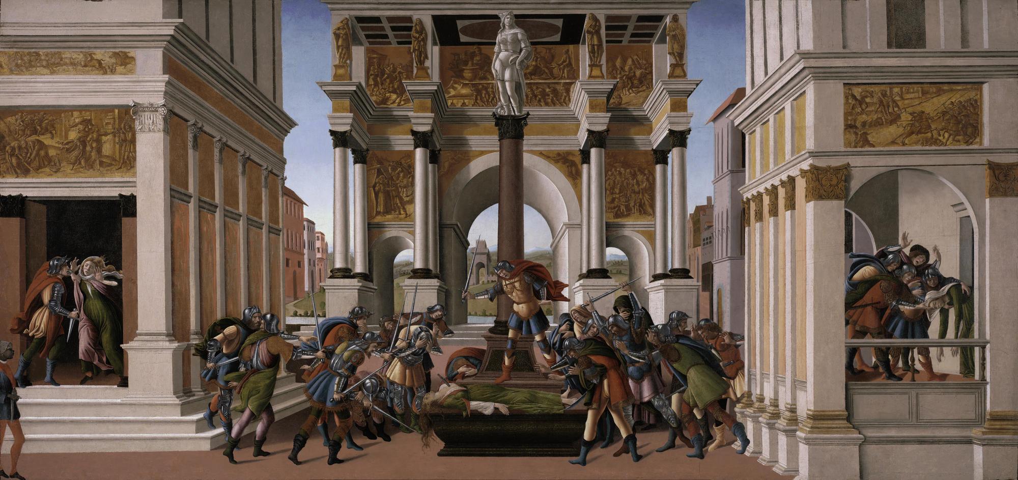 Sandro Botticelli (Italian, 1444 or 1445-1510), The Tragedy of Lucretia, 1499-1500. Tempera and oil on panel, 83.8 x 176.8 cm (33 x 69 5/8 in.) Isabella Stewart Gardner Museum, Boston