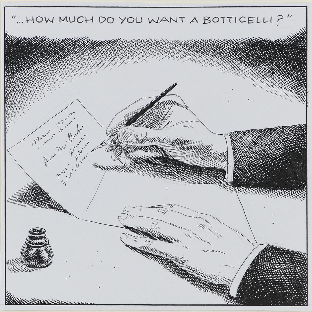 Karl Stevens, Mrs. Jack Buys a Botticelli I, 2018. Ink on paper. © Karl Stevens 2018