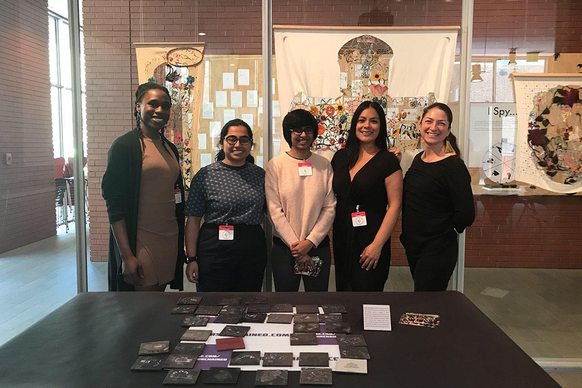 L-R: Mimi Onuoha, Athmika Senthilkumar, Ana Krishnan, Vanessa Lee, and Rhea Vedro at the final presentation of Olin College works.