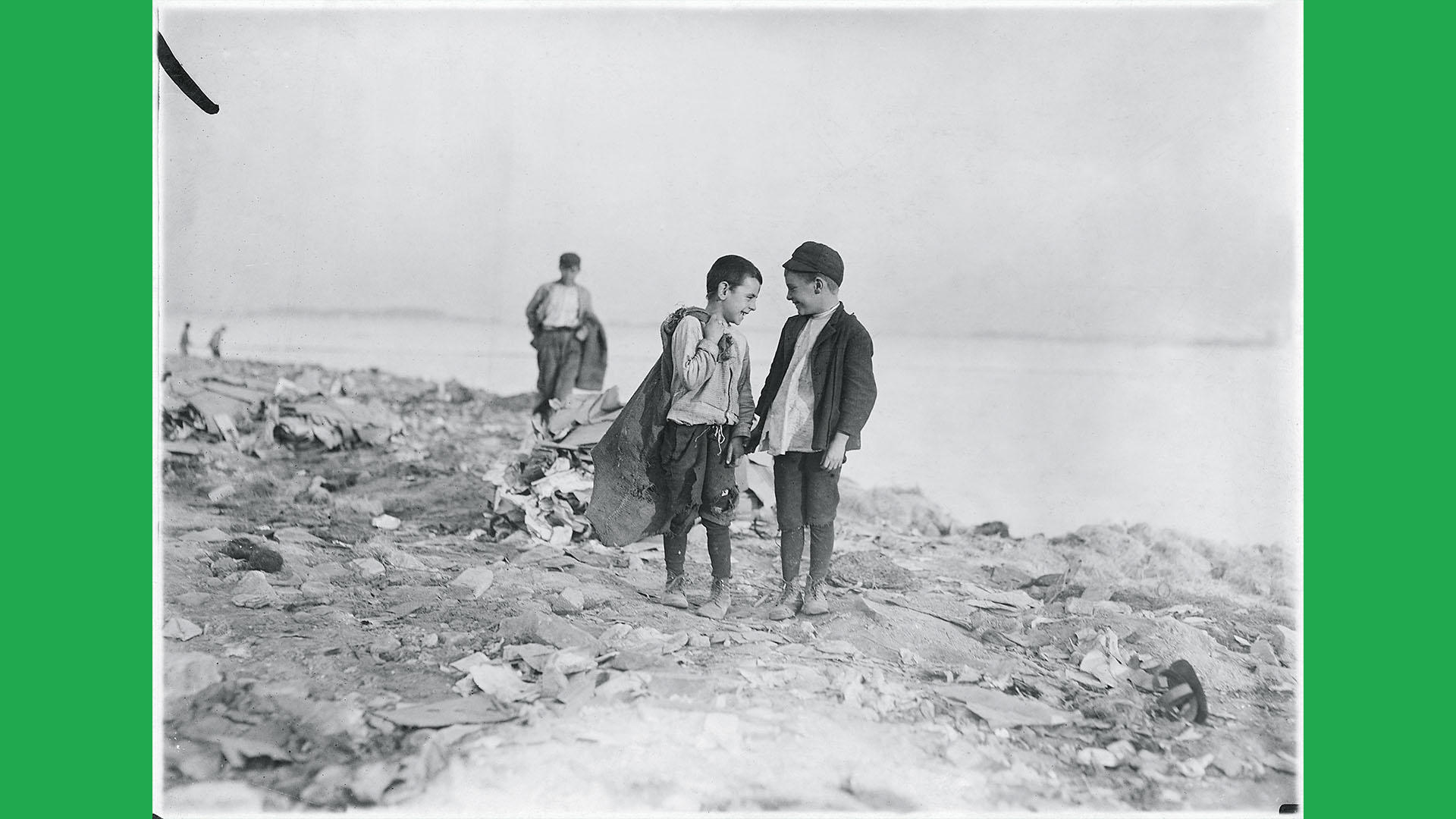 "Lewis Hine, Boys Picking Garbage from ""The Dumps,"" Boston, 1909."