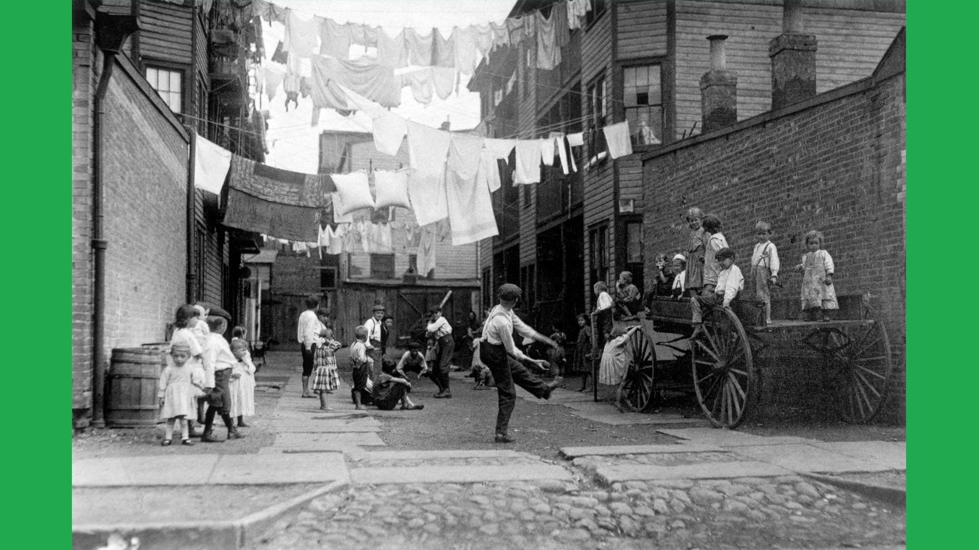 Lewis Hine, Play Ground in Tenement Alley, Boston, 1909
