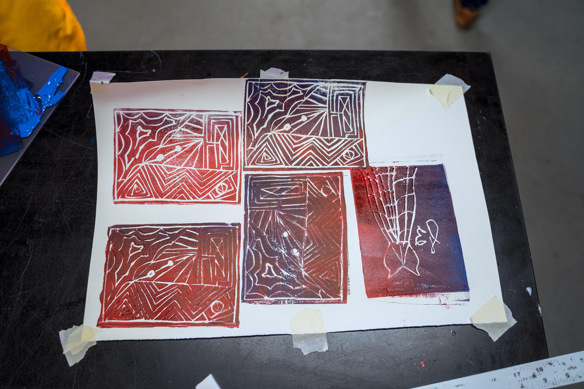 Some finished linoleum tiles, ready for print-making. Photo by Faizal Westcott, June 2019.