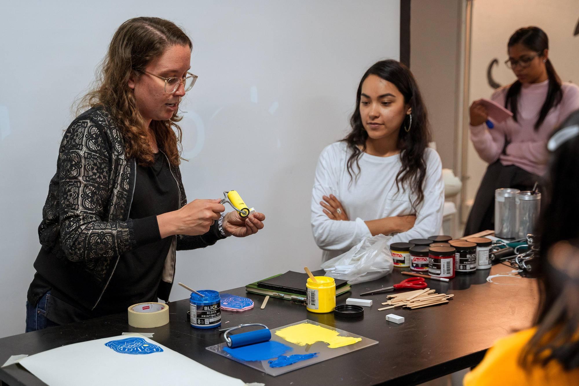 Urbano Project students learn about print-making. Photo by Faizal Westcott, June 2019.