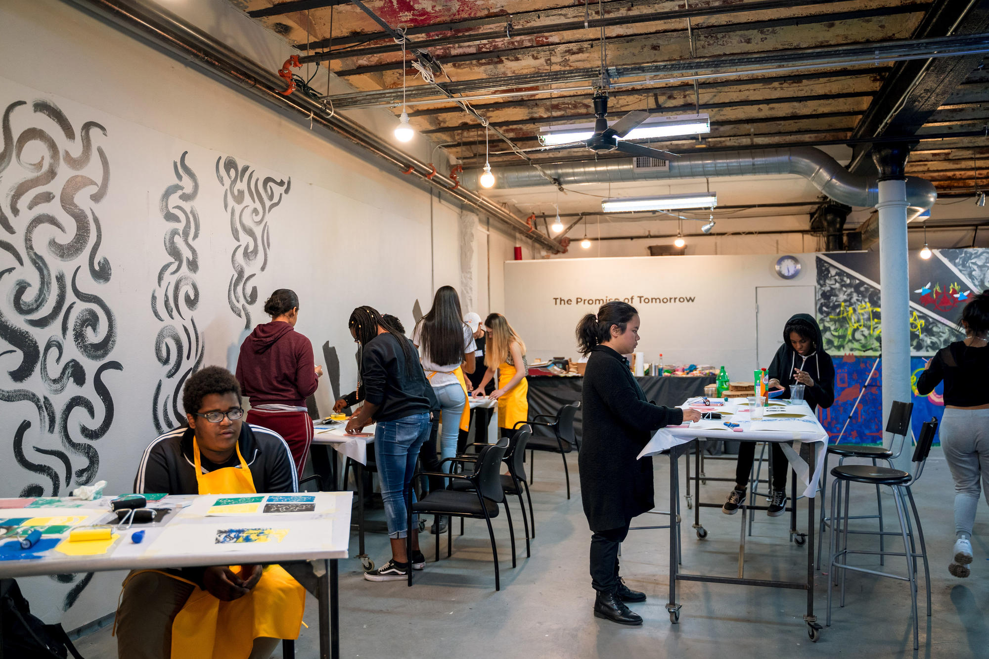A wide shot of students working in the Urbano Project space. Photo by Faizal Westcott, June 2019.