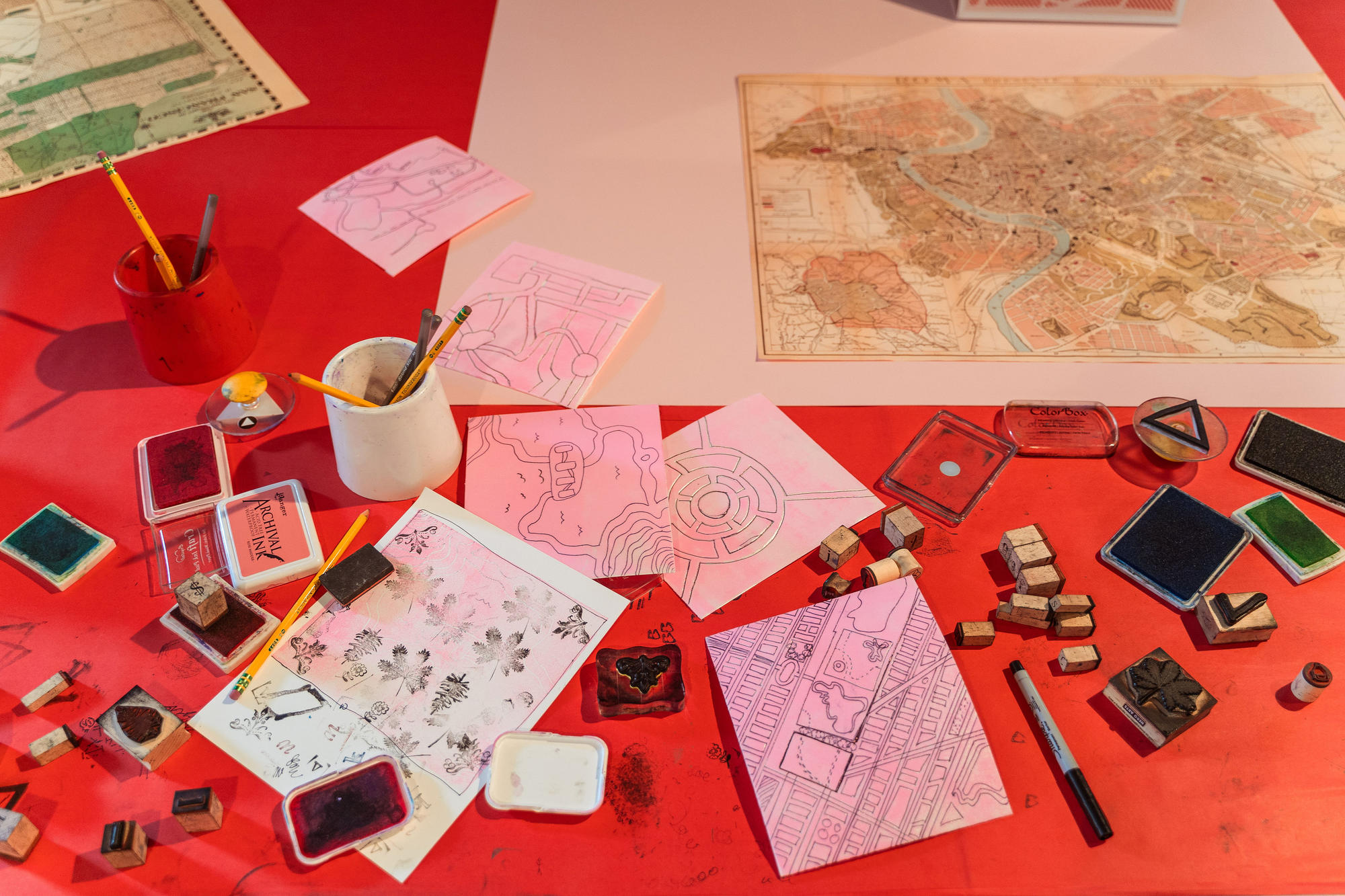 Close up of a Studio table during Anthony Peña's Mapping a Better Future project in summer 2019.