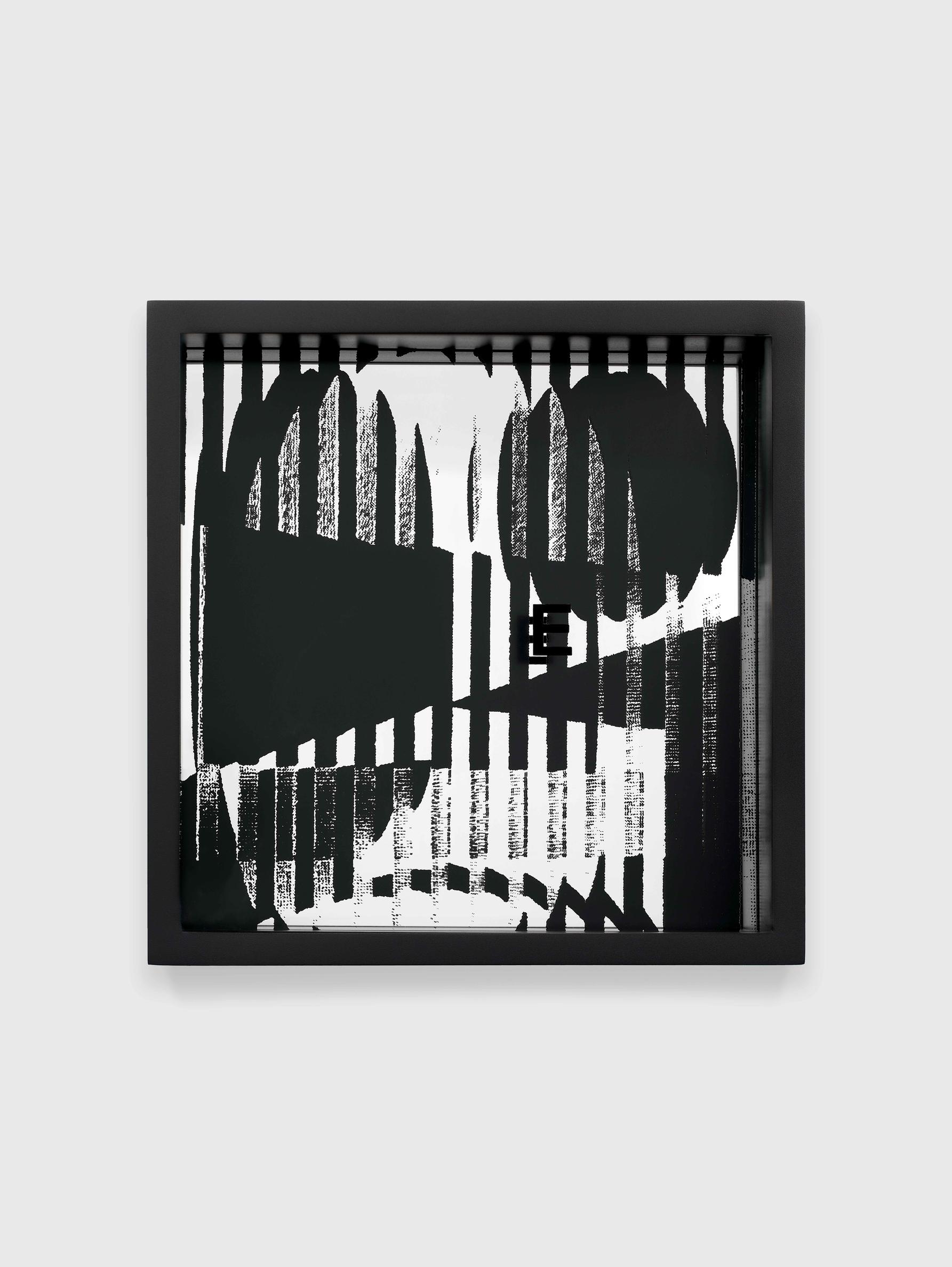 Adam Pendleton, System of Display, E (HERE/Yaacov Agam, Contrastes, 1957), 2018–19. Silkscreen ink on plexiglass and mirror, 9 13/16 × 9 13/16 × 3 1/8 in (24.92 × 24.92 × 7.94 cm).