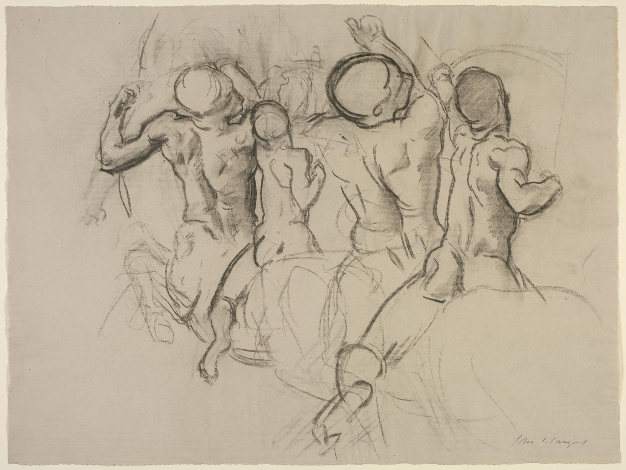 John Singer Sargent (American, 1856 - 1925), Study for Chiron and Achilles for the Rotunda or Grand Staircase of the Museum of Fine Arts, Boston, 1917-1922. Charcoal on paper, 47.2 x 63.2 cm (18 9/16 x 24 7/8 in.) Isabella Stewart Gardner Museum, Boston (S.G.Sar.4.1.8)