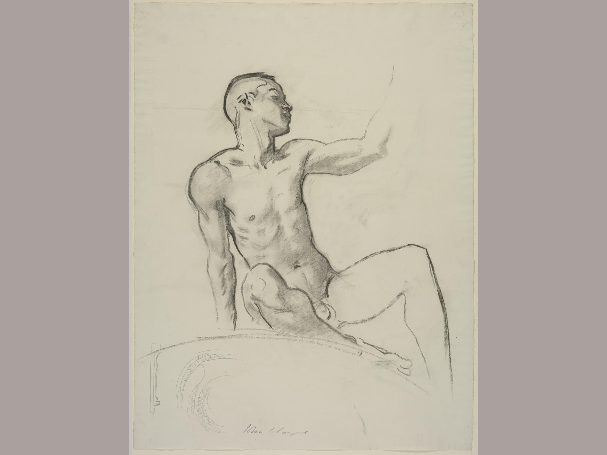 John Singer Sargent (American, 1856 - 1925), Study of a Seated Male Nude for a Cartouche for the Rotunda of the Museum of Fine Arts, Boston, 1917-1921. Charcoal on paper, 63.3 x 48 cm (24 15/16 x 18 7/8 in.) Isabella Stewart Gardner Museum, Boston (S.G.Sar.4.1.5)