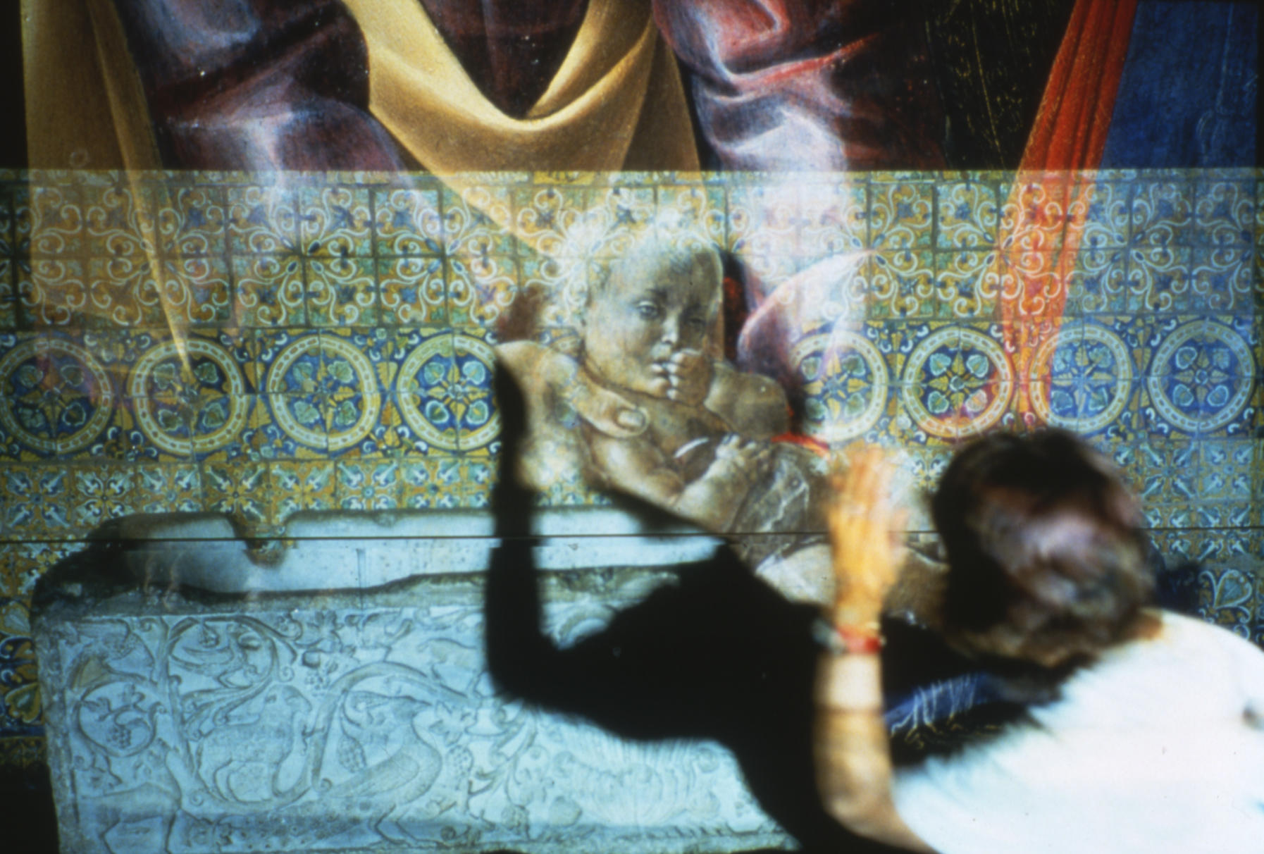 Dorit Cypis working with projections and shadows in the Spanish Cloister, 1993.