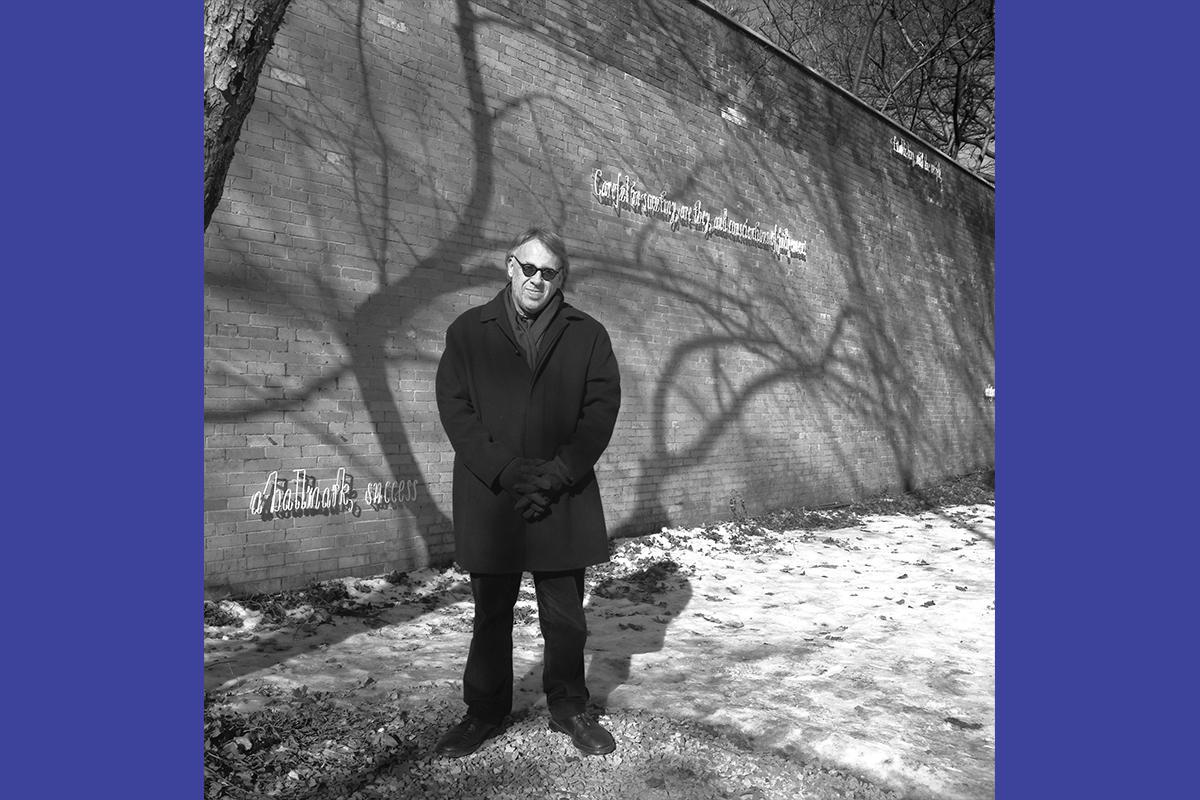 Joseph Kosuth in front of Whistler's Warning (c.c.c.c.c.). Installed January 24, 2003–January 20, 2005, Isabella Stewart Gardner Museum, Boston.