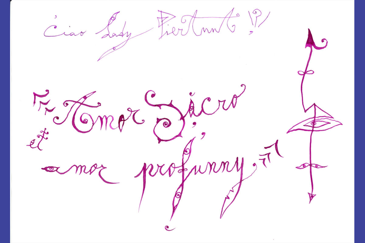 Email from Luigi Ontani to the Tom and Lisa Blumenthal Curator of Contemporary Art, Pieranna Cavalchini, 8 ½ x 11 in,  2008.