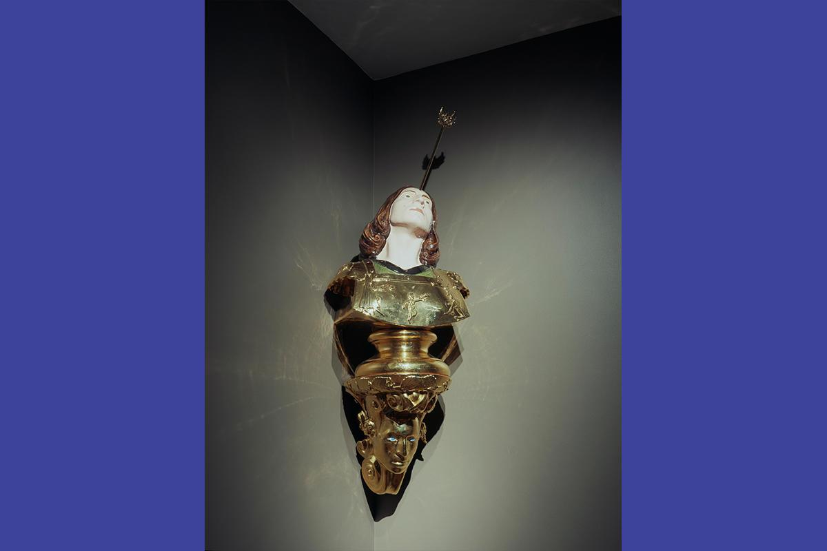 SanSebastianOntano, 1998, ceramic and gold, 53 x 17 ¾ in.