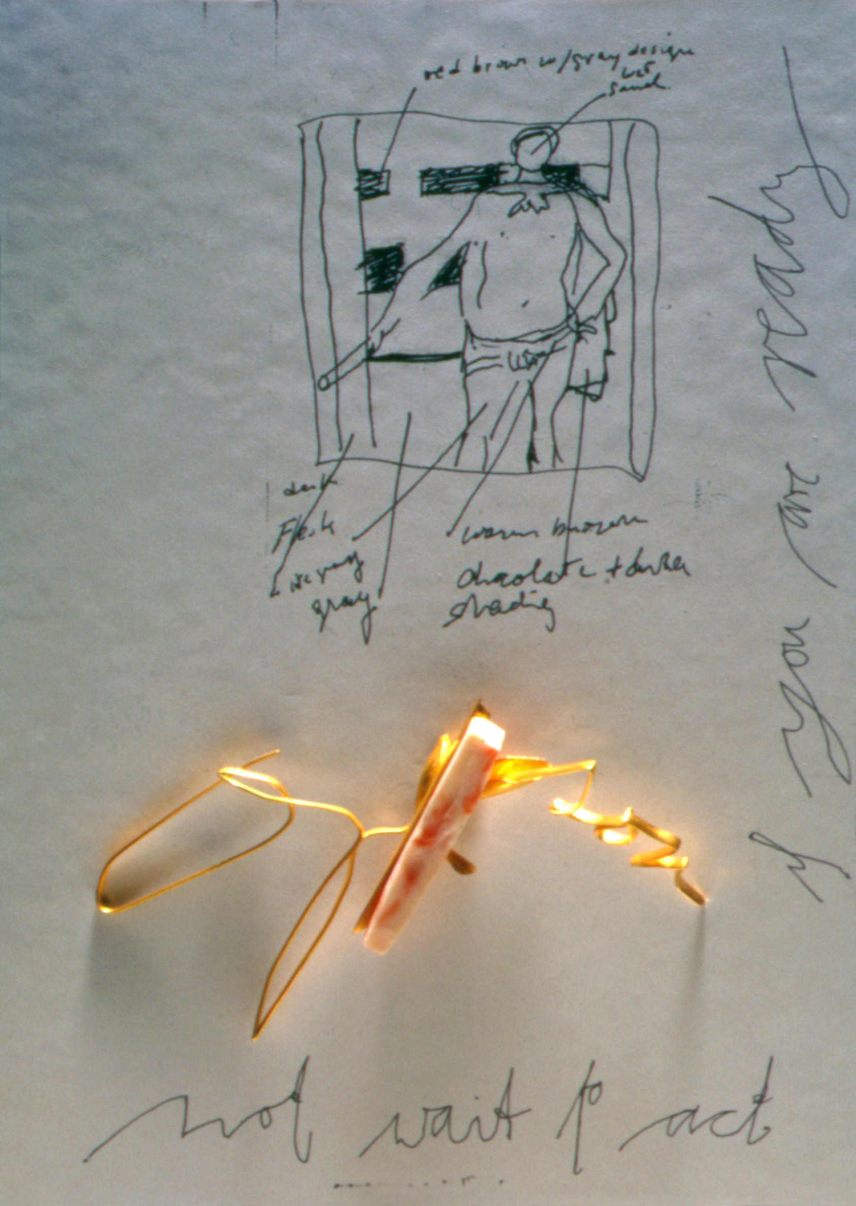 Manfred Bischoff, Or-Son, 2002 Brooch, fine gold and coral, 3 ¼ x 4 x 1 in., displayed on a painting on paper created by Bischoff for his Gardner exhibition. © Manfred Bischoff, Aurelio Amendola, Isabella Stewart Gardner Museum