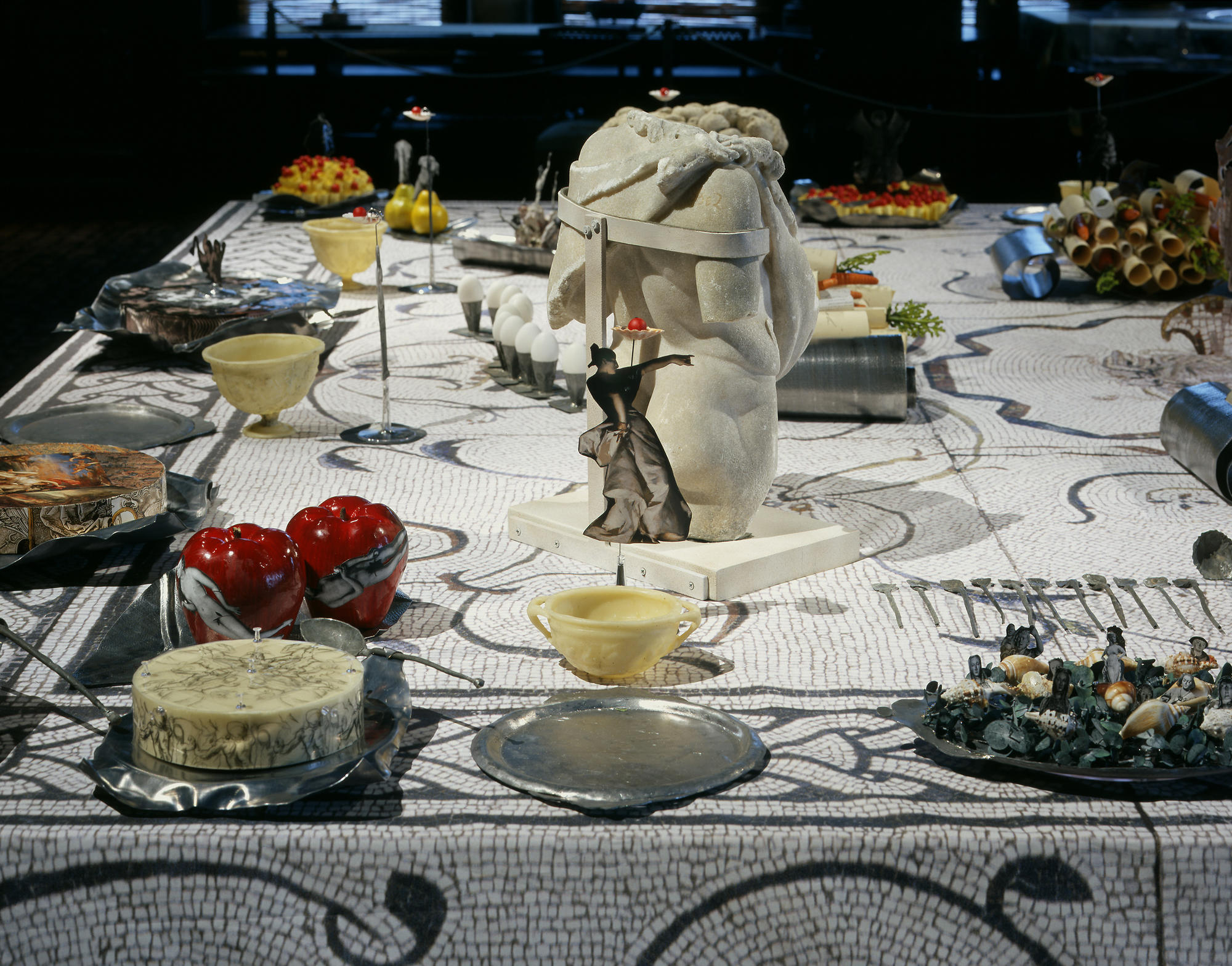 Michele Iodice, ichele Iodice, A Pagan Feast,  site-specific work for the Dutch Room, paper, lead, Roman marble, silk screen printing on fabric. 6 x 6 m.  November 22, 2005 – January 8, 2006, Isabella Stewart Gardner Museum, Boston. Image by Clements/Howcroft Photography.