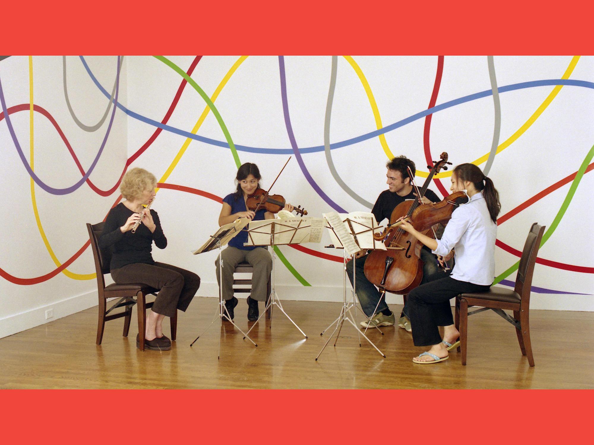 Variations on a Theme by Sol LeWitt & Paula Robison, 2005, Mozart Flute Quartet in D Major K. 285 performed by Paula Robison, flute, Harumi Rhodes, violin,Julianne Lee, viola, Eric Jacobsen, cello.